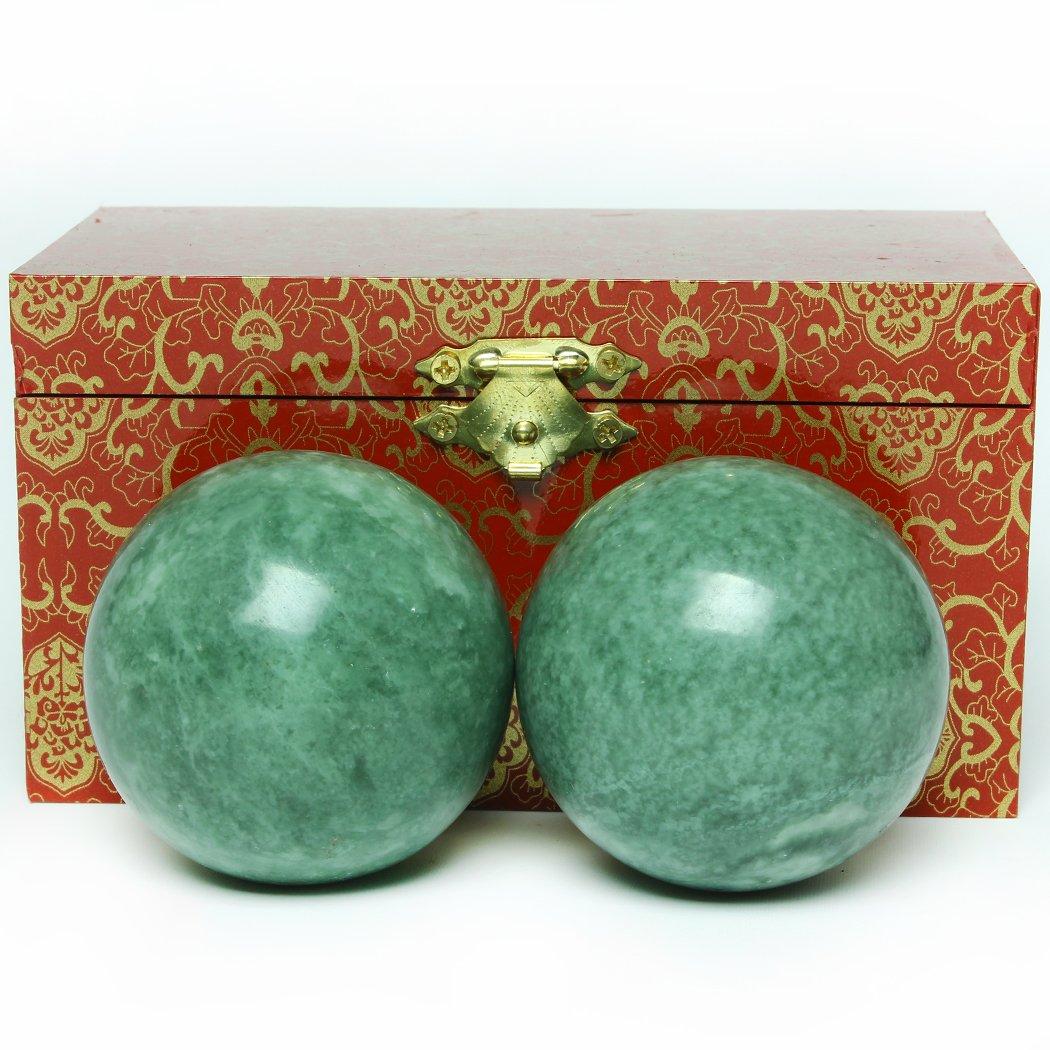 5,1cm Marmor dunkelgrün Qigongkugeln Chinesische Gesundheit Übung Massage Bälle Stress Hand BS022